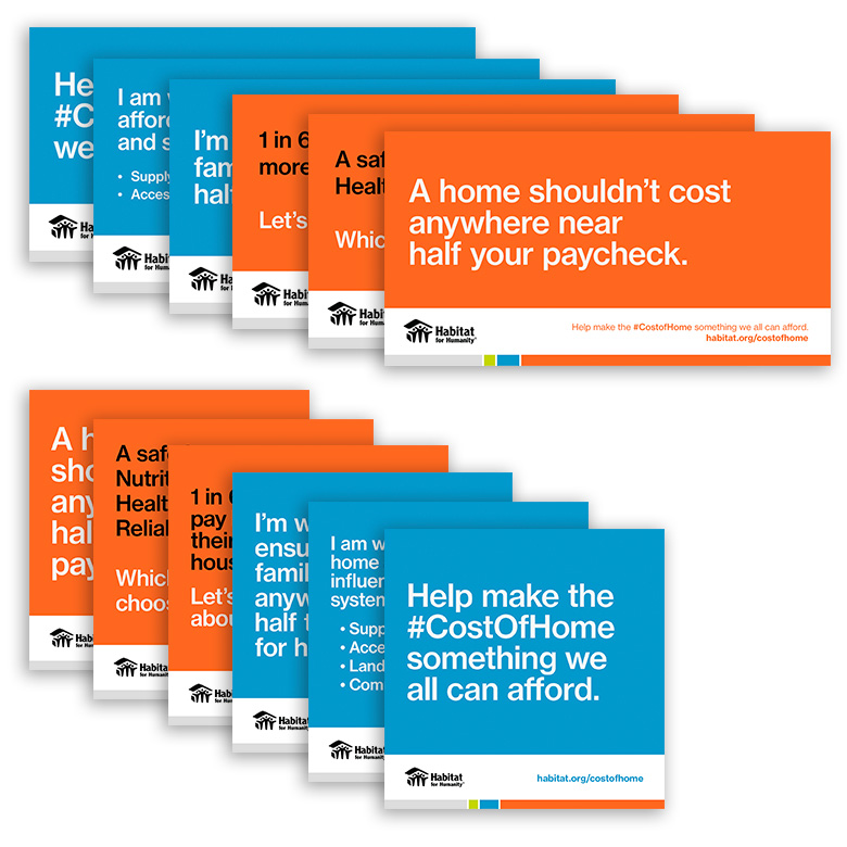 "A stack of Cost of Home cards. The first one reads, ""A home shouldn't cost anywhere near half your paycheck."""