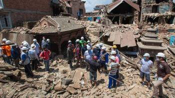 Volunteers helping after a disaster, Nepal Earthquake