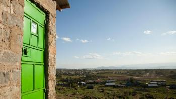Green door on house in Kenya