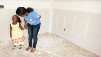Kid in unfinished house, What does home mean to you? Habitat for Humanity