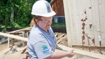 Barbara building with Habitat for Humanity after Hurricane Sandy