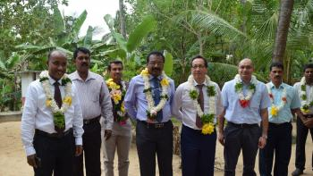 His Excellency Tung-Lai Margue, Ambassador and Head of Delegation of the European Union to Sri Lanka and the Maldives, being welcomed by the homeowners at the project site in Kilinochchi, Sri Lanka.