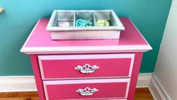 DIY refurbished dresser with new hardware and accessories