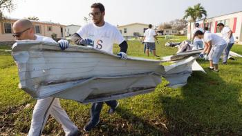 Volunteers clean up with Habitat Hammers Back