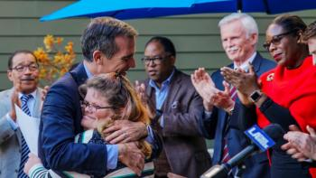 Habitat CEO Jonathan Reckford discusses fair and affordable housing with L.A. Mayor Eric Garcetti