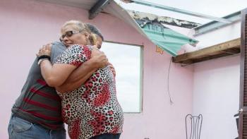 Puerto Rico family in damaged home