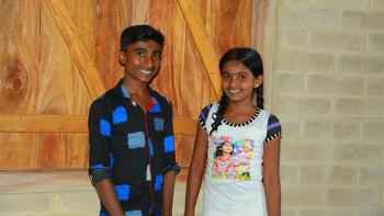 Shanmugasivam, 14, and his sister Aishwarya