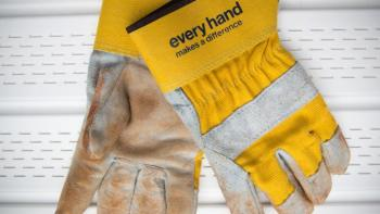 "Gloves that say ""every hand makes a difference."""