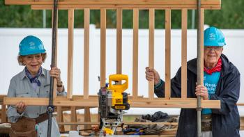 Former President Jimmy Carter and former First Lady Rosalynn Carter show off their handiwork at the 2018 Carter Work Project in Mishawka, Indiana. The Carters will bring their annual Habitat for Humanity project to Nashville, Tennessee in October 2019.