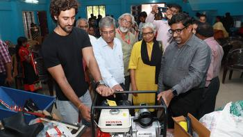 ndian film actor and Ketto co-founder Kunal Kapoor (left) with Habitat India's managing director Rajan Samuel with a tool bank item for the Kerala flood response