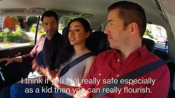 Aimee Garcia in car with Scott Brothers.