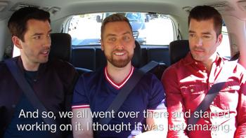 Lance Bass in car with Scott Brothers.