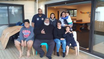 Habitat homeowners Allan and Alice with their family in Otara, New Zealand