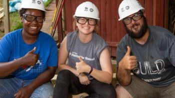 Volunteers on a build site.