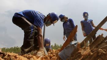 Volunteers clearing rubble in earthquake-hit Nepal