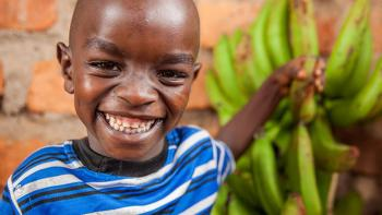 Photo: child with bananas, kenya