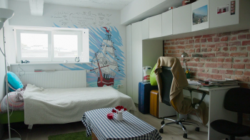 Photo: Michal's studio apartment with a mural of a red ship