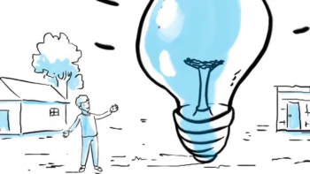 Graphics: a man and a big bulb representing innovation