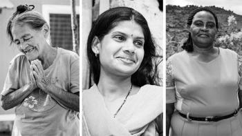 Photo: faces of three women from Honduras, Kenya and India