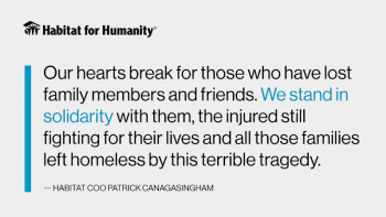 "Quote graphic that reads: ""Our hearts break for those who have lost family members and friends. We stand in solidarity with them, the injured still fighting for their lives and all those families left homeless by this terrible tragedy."""