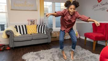 Shawnee's daughter jumping in her home.
