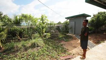 Cambodian homeowner Bunthoeun looking out at his vegetable garden in Kandal province