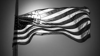 Black and white photo of an American flag.