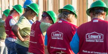 Lowe's workers supporting Habitat for Humanity Women Build