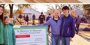 Maureen's family at the Habitat build site