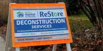 What is deconstruction sign at Milwaukee Habitat ReStore salvage site