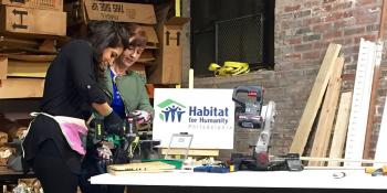 FYI Philly's Melissa Magee and Alicia Vitarelli posing while learning how to use tools for DIY projects