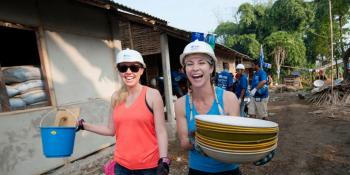 Habitat volunteers on a build site