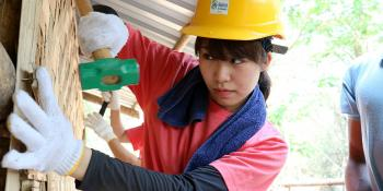 A Japanese volunteer at Asia Build in Myanmar