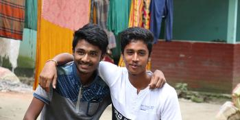 Prangon (left) and Dipu are good friends and neighbors in Raghurampur village, Mymensingh district, Bangladesh