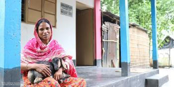 Shirin on the porch of her home in Taragai village, Mymensingh district, Bangladesh