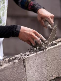 Hands, trowel and bricks