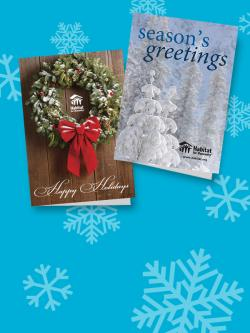 holiday greeting cards on snowflake background.