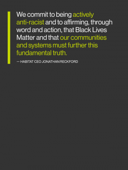 "Quote graphic that reads: ""We commit to being actively anti-racist and to affirming, through word and action, that Black Lives Matter and that our communities and systems must further this fundamental truth."""