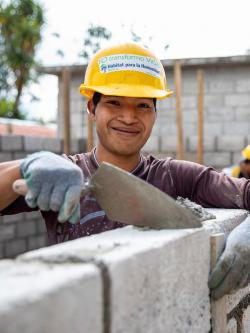 Volunteer on Mexico build site.