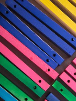 colorful painted slats.