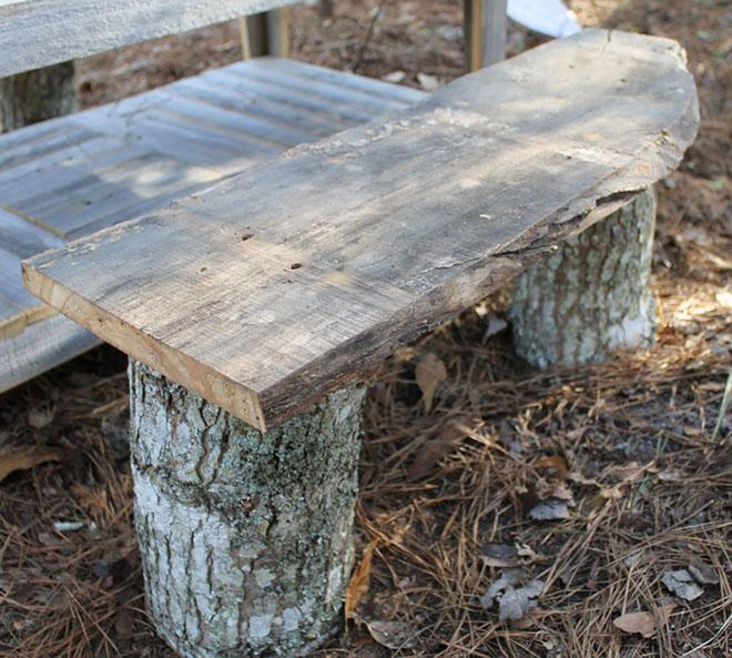 Bench logs reclaimed wood