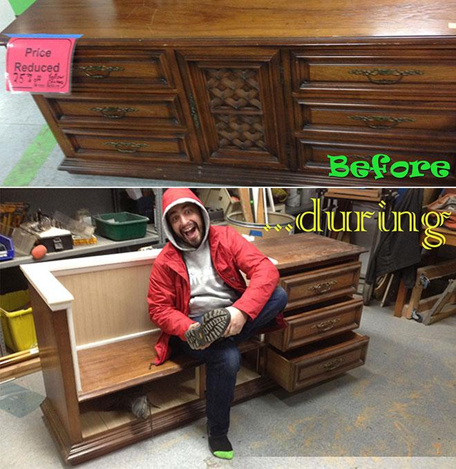 credenza upcycle before and during photo