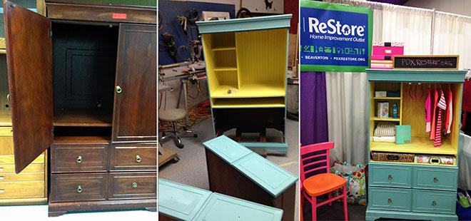 Laundry cabinet furniture DIY upcycle before, during and after photos