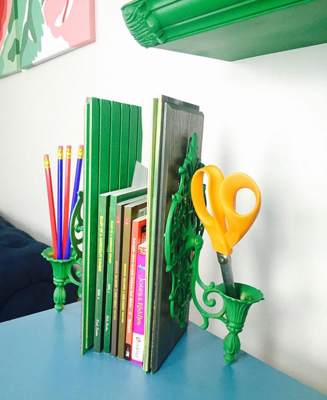 Matching book ends made from sconces