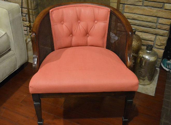 Reupholstered Vintage Barrel Chair After Photo