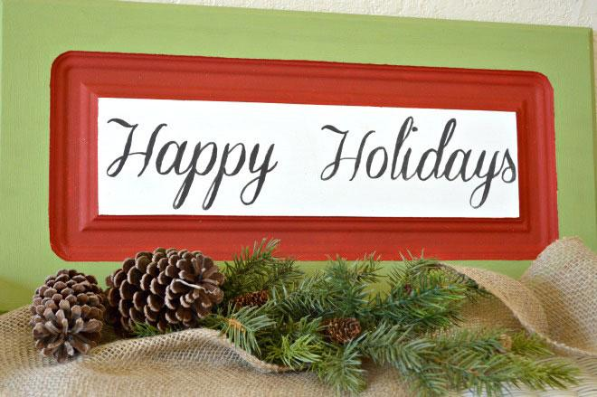 Upcycled cabinet door holiday signs