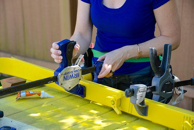 Use clamps to set glue