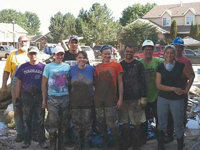 Group of St. Vrain Habitat disaster cleanup volunteers