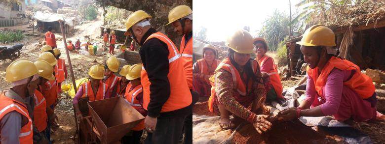 Training in compressed stabilized earth brick production