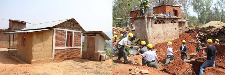 (Left) A house that has been rebuilt in Pipaltar. (Right) GV volunteers in Panchkal.
